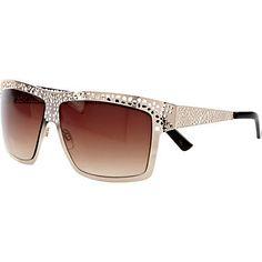 Gold tone filigree visor sunglasses