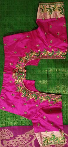 Saree Kuchu Designs, Best Blouse Designs, Simple Blouse Designs, Blouse Back Neck Designs, Stylish Blouse Design, Blouse Neck, Saree Blouse, Latest Embroidery Designs, Peacock Embroidery Designs