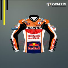Marc Marquez Honda Repsol Red bull Motogp 2017 Leather Jacket is Separated from his Suit. World Champion Marc Marquez unveiled the 2017 Honda Repsol Red Bull Le Motorcycle Leather, Biker Leather, Motorcycle Outfit, Cowhide Leather, Leather Jacket, Motorbike Jackets, Motorbike Leathers, Bike Suit, Marc Marquez
