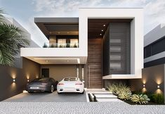 Modern Exterior House Designs, Modern House Facades, Modern Villa Design, Dream House Exterior, Exterior Design, Bungalow Haus Design, Modern Bungalow House, Duplex House Design, House Front Design