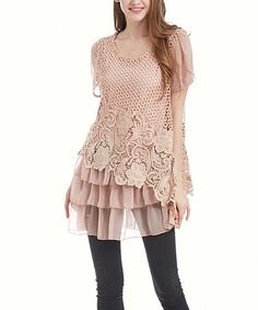 Loving this Pink Lace Tiered-Ruffle Tunic on #zulily! #zulilyfinds