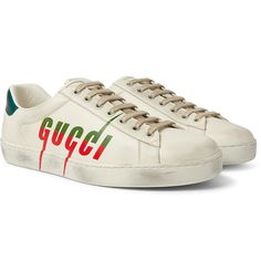 Gucci 'new Ace' Logo Print Distressed Leather Sneakers In White Gucci Shoes Sneakers, Leather Sneakers, Distressed Leather, Metallic Leather, Gucci Hoodie, Colorful Heels, Gucci Fashion, Yellow Leather, Red Heels