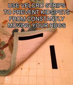 Use velcro strips to prevent pets from moving your rugs.