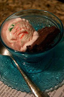 Brownies and peppermint ice cream