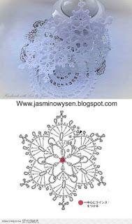 Crochet christmas doily snowflake ornaments Ideas for 2020 Crochet Snowflake Pattern, Crochet Stars, Crochet Motifs, Crochet Snowflakes, Crochet Diagram, Thread Crochet, Crochet Crafts, Crochet Flowers, Crochet Stitches