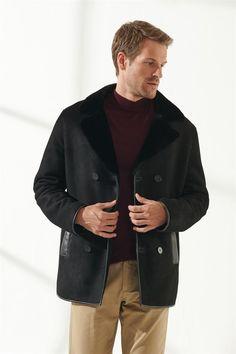 JEFF Men Casual Black Shearling Coat Black Noble   Luxury Shearling Black Shearling Coat, Mens Shearling Jacket, Black Pattern, Double Breasted, Raincoat, Men Casual, Pure Products, Luxury, Model