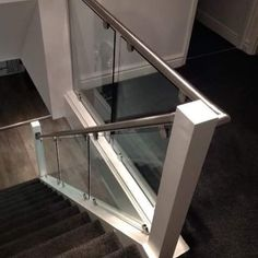 Brushed stainless steel handrails with bespoke glass balustrades are used to transform this customers staircase and landing. House Staircase, Staircase Railings, Staircase Design, Staircases, Glass Bannister, Glass Stairs, Stainless Steel Staircase, Hallway Flooring, Glass Balustrade