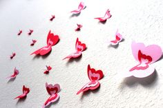 Valentine Butterfly Wall Art 3d butterflies Red by MyDreamDecors, $18.00