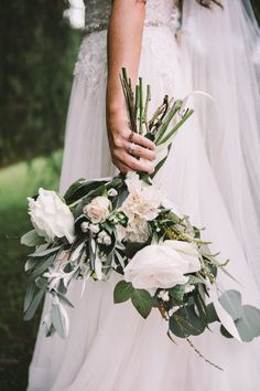 Dreamy white and matte green wedding bouquet | Image by Culture Theory