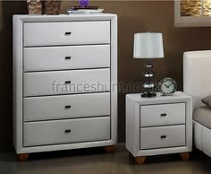 Jersey 5 Drawer White Faux Leather Chest