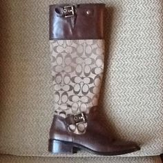 I just discovered this while shopping on Poshmark: AUTH COACH SIGNATURE LOGO LEATHER RIDING BOOTS, 8. Check it out!  Size: 8