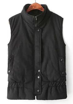 Black Plain Buttons Vest
