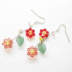 Handmade Gifts | Independent Design | Vintage Goods Crystal Flower Dangle Earrings - Earrings - Jewelry - Girls
