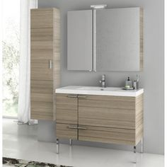 "ACF New Space 39"" Single Bathroom Vanity Set with Mirror 