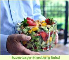 Seven-Layer Strawberry Salad with Poppy Seed Dressing ~ AVeggieVenture.com