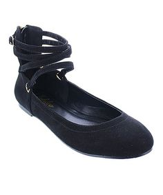 Loving this Black Mendel Ankle-Strap Flat on #zulily! #zulilyfinds