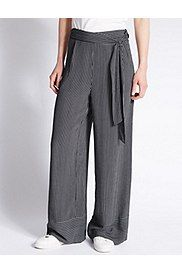 Striped Wide Leg Trousers, NAVY MIX