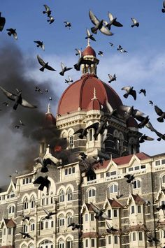 What a great shot of the famous Taj Hotel in Mumbai going up in flames - a few years back