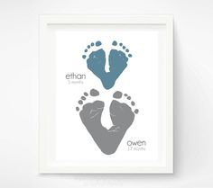 Gift for Dad Child Footprint Hearts - Personalized Father's Day Gift - Gift for Grandma  - Valentines Day Birthday Gift