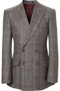 Contemporary Savile Row Tailors, Savile Row Bespoke, Custom-Made, Made-To-Measure Men's Suits | RICHARD JAMES CHOCOLATE & BURGUNDY PRINCE OF WALES SEISHIN SUIT - www.richardjames.co.uk