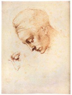 MICHELANGELO  Study of an Inclined Head  1529-30  Red chalk, 355 x 270 mm  Casa Buonarroti, Firenze, Italy