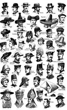 Chart of men's historical hats.