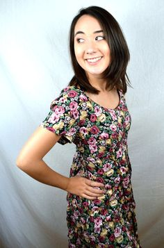 Vintage 90s All That Jazz Summer Grunge Floral Mini Dress