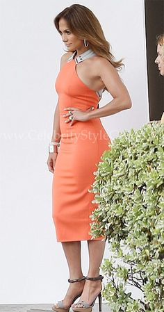 Seen on Celebrity Style Guide: Jennifer Lopez glowed in the Victoria Beckham Stretch-crepe dress filming American Idol April 12, 2012