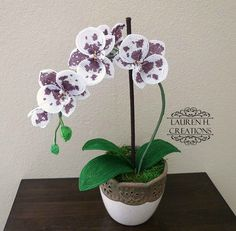 French Beaded Moth Orchid Home Decor Floral Decor by LaurenHCreations. Custom orders available! Moth Orchid, Phalaenopsis Orchid, Orchid Plants, Seed Bead Flowers, French Beaded Flowers, Crochet Flowers, Beaded Ornaments, Beading Projects, Ikebana