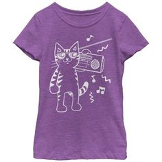 Lost Gods Boombox Cat Cartoon Girls Graphic T Shirt, Girl's, Size: Large, Pink