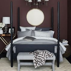 Sleeping beauty. Create a dramatic focal point in the bedroom with this grand four poster bed. Crafted of ash wood in a matte black finish, it combines the best of modern and traditional design.