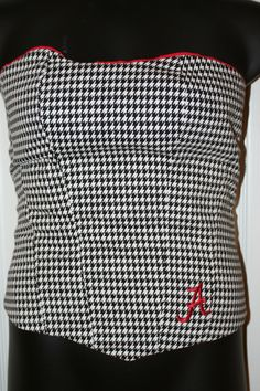 Houndstooth corset made by me, for me with an Alabama A
