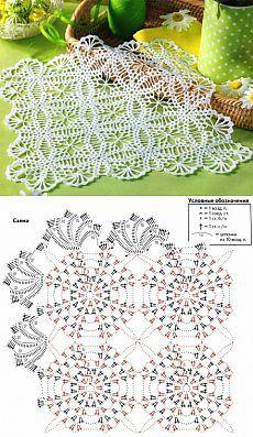 World crochet: Motive 198 Crochet Table Runner Pattern, Crochet Doily Diagram, Crochet Mandala Pattern, Crochet Square Patterns, Crochet Tablecloth, Crochet Stitches Patterns, Crochet Round, Crochet Chart, Crochet Squares