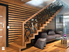 Interior staircase Modern design for every style - Kitchen Ideas Modern Stair Railing, Stair Railing Design, Modern Stairs, Staircase Interior Design, Home Stairs Design, Home Interior Design, House Staircase, Plafond Design, Modern House Plans