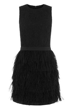 Lace Feather Dress | Black | Oasis Stores