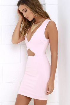 Everyone is sure to clear the floor (or the runway!) to get a better look at you in the Cleared for Take-Off Light Pink Bodycon Dress! Medium-weight knit creates a darted, sleeveless bodice with a plunging V neckline and triangular front cutout. Bodycon skirt below continues the sultry silhouette. Hidden back zipper.