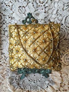 Vintage oro bolsa de diamantes de imitación y perlas