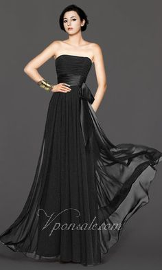 Strapless Bow Empire Waist Long Dress VPS0024 [VPS0024] - $126.56 : $70-$90|cheap bridesmaid dresses|free shipping-V.P