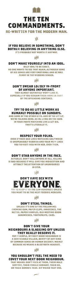 The Ten Commandments rewritten for modern man.