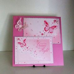 Handmade Card, Can Be Personalised, Pink Butterflies £3.00
