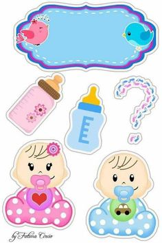 Dibujos Baby Shower, Imprimibles Baby Shower, Baby Shower Unisex, Baby Boy Shower, Baby Stickers, Planner Stickers, Scrapbook Bebe, Moldes Para Baby Shower, Baby Boy Cards