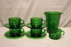 Vintage Vereco Emerald Green Cup, Saucer and Pitcher Set France