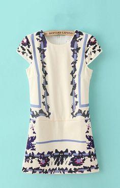 Vintage Printing O-neck Short Sleeves Dress