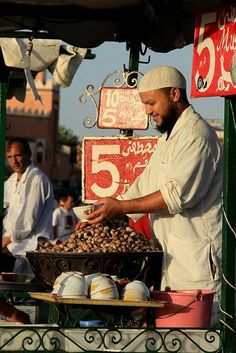"""iseo58: """"Roasted Nuts, street snack food, Marrakech, Morocco """""""