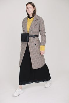 2ND Livia Checked - Driftwood by 2ND DAY | VILLOID Driftwood, 2 In, Coats, Wraps, Coat, Drift Wood, Vestidos