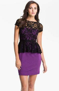 Donna Morgan Lace Overlay Peplum Dress in Purple (black/ violet quartz) - Lyst
