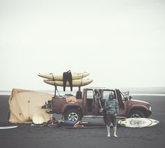 Basic equipment for a weekend getaway…surf  & SUP trip!