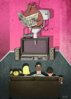 "OcéanoMar - Art Site: ART PRINTS BY STEVE CUTTS, ""What's on TV"""