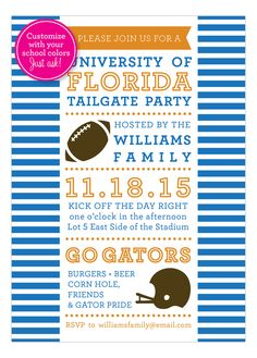 Change it to Red and Black and this is perfect!  Polka Dot Design Stripes Football Tailgate Invitation.  This 5x7 invitation is perfect for the football fan and can be customized with your team colors.