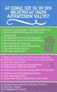 60 Dinge, die du in den nächsten 60 Tagen aussortieren solltest 60 things to sort out in the next 60 days: sorting out 60 things – sounds hard – but it's easy! Over time, a lot of things accumulate in the household. House Cleaning Tips, Cleaning Hacks, Budget Planer, Flylady, Declutter Your Home, Konmari, Tidy Up, Organization Hacks, Organizing